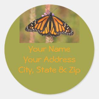 Monarch Butterfly Address Label Classic Round Sticker