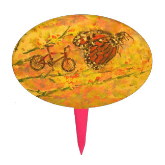 monarch butterfly and bicycle art cake topper