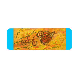 monarch butterfly and bicycle art label