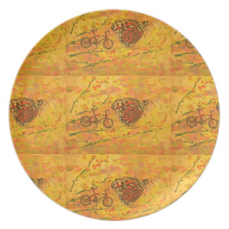 monarch butterfly and bicycle art melamine plate