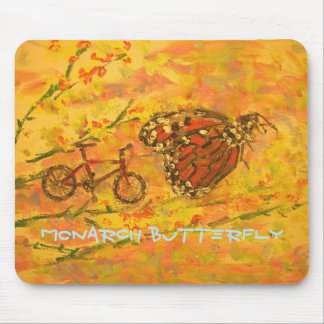monarch butterfly and bicycle art mouse pad