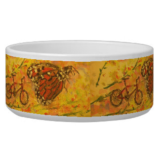 monarch butterfly and bicycle art pet food bowl