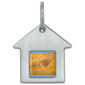 monarch butterfly and bicycle art pet tags
