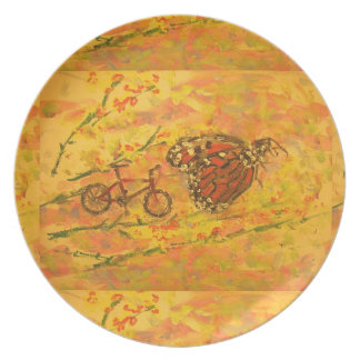 monarch butterfly and bicycle art plate