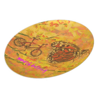 monarch butterfly and bicycle art party plates