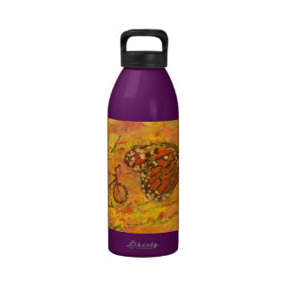 monarch butterfly and bicycle art drinking bottles