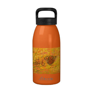 monarch butterfly and bicycle art water bottles