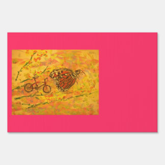 monarch butterfly and bicycle art sign