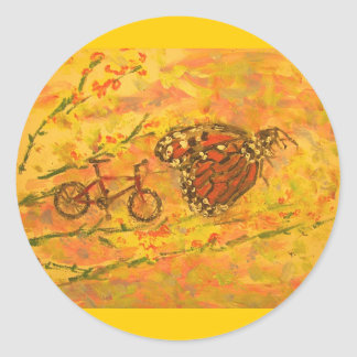 monarch butterfly and bicycle classic round sticker