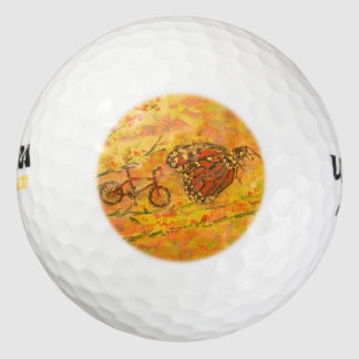 monarch butterfly and bicycle pack of golf balls