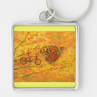 monarch butterfly and bicycle keychain