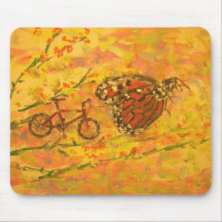monarch butterfly and bicycle mouse pad