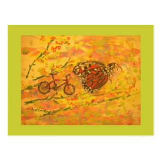 monarch butterfly and bicycle postcard
