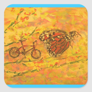 monarch butterfly and bicycle square sticker