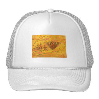 monarch butterfly and bicycle trucker hat