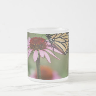 Monarch Butterfly and Black Eyed Susan Frosted Glass Coffee Mug