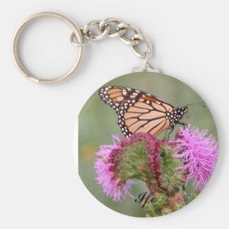 Monarch Butterfly and Blazing Star Flower, Ife Basic Round Button Keychain