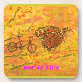 monarch butterfly and mountain biking art drink coasters