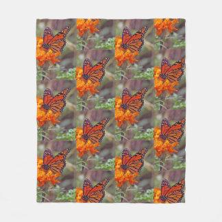Monarch Butterfly And Orange Zinnia Fleece Blanket