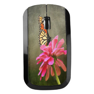 Monarch Butterfly and Pink Zinnia Wireless Mouse