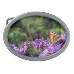 Monarch butterfly and purple flowers belt buckle