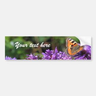 Monarch butterfly and purple flowers bumper stickers