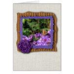 Monarch butterfly and purple flowers greeting card