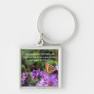 Monarch butterfly and purple flowers keychain