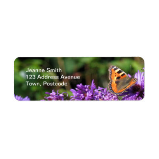 Monarch butterfly and purple flowers label