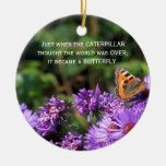 Monarch butterfly and purple flowers ornaments