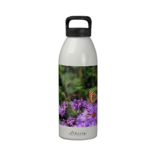 Monarch butterfly and purple flowers reusable water bottles