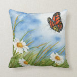 Monarch Butterfly and Wild Daisies - Pillow