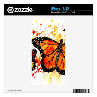 Monarch Butterfly Art02 Decals For The iPhone 4