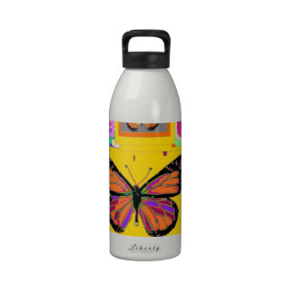 Monarch Butterfly Art in Gold by Sharles Reusable Water Bottle