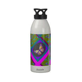 Monarch Butterfly Avocado-Purple Gifts by Sharles Drinking Bottle