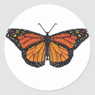 Monarch Butterfly Bedazzled Classic Round Sticker