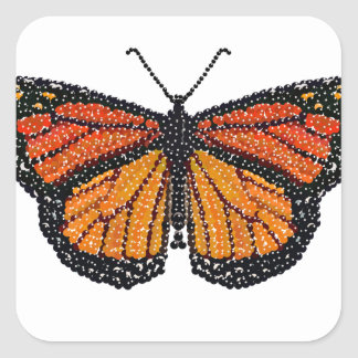 Monarch Butterfly Bedazzled Square Sticker