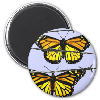 Monarch butterfly  behind barbed wire 2 inch round magnet