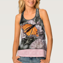 Monarch Butterfly Black Pink Gothic Tile Border Tank Top