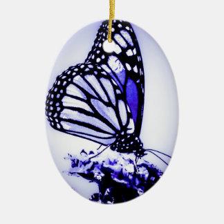 Monarch Butterfly, Blue - Ceramic Ornament