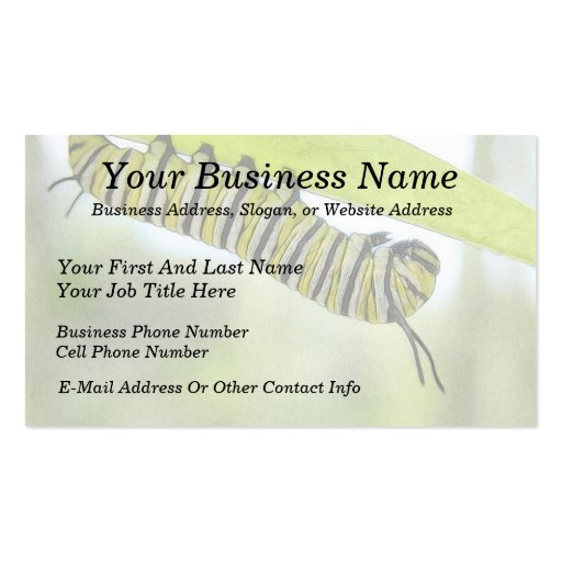 Monarch Butterfly Caterpillar Exploring A Milkweed Double-Sided Standard Business Cards (Pack Of 100)