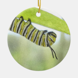 Monarch Butterfly Caterpillar Exploring A Milkweed Ceramic Ornament