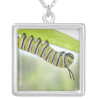 Monarch Butterfly Caterpillar Exploring A Milkweed Square Pendant Necklace