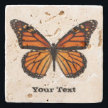 "Monarch Butterfly Custom Stone Coaster<br><div class=""desc"">Pretty stone coaster with digital graphics of a orange and black monarch butterfly.  Distressed black text reads whatever you want it to say.  Makes a lovely gift idea.</div>"