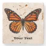 Monarch Butterfly Custom Stone Coaster<br><div class='desc'>Pretty stone coaster with digital graphics of a orange and black monarch butterfly.  Distressed black text reads whatever you want it to say.  Makes a lovely gift idea.</div>
