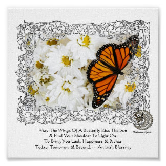 Monarch Butterfly & Daisies Posters