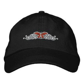 Monarch Butterfly Design Embroidered Cap