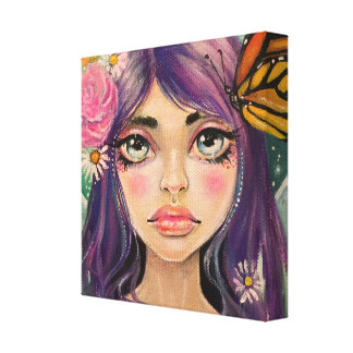 Monarch Butterfly Faerie with Purple Hair Fairy Canvas Print