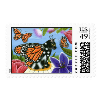 Monarch Butterfly Fairy Cat Fantasy Art Postage