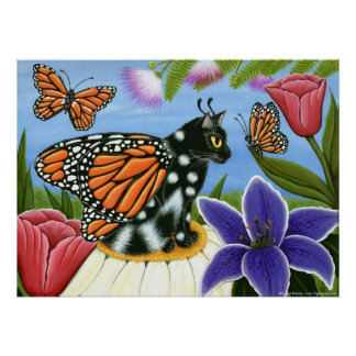 Monarch Butterfly Fairy Cat Fantasy Art Poster